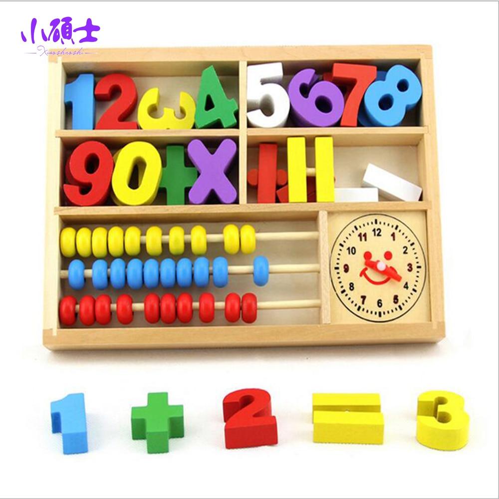Сосновая Многофункциональный математика обучения коробка для образования детей разведки develping игра-головоломка Игрушечные лошадки подаро... ...