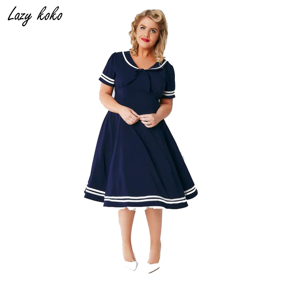 lazy koko new preppy style plus size clothing navy
