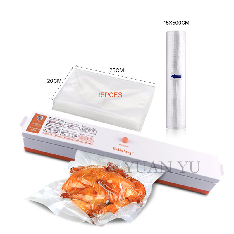 ФОТО Free 1 Roll (15cm*500cm) and 15pcs bags Mini Food Vacuum Sealer Portable Automatic Electric Household Vacuum Packing Machine
