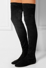 Hot Selling Black Suede Socks Over Knee Boots Womens Slim Fit Stretch Fabric Tight High Plus Size Flat Ladies Long
