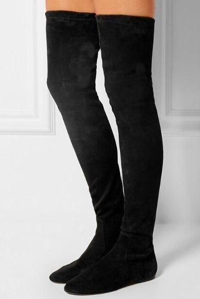 Vente chaude Noir En Daim Chaussettes Sur Genou Bottes Femmes Slim Fit Stretch Tissu Serré Haute Bottes Plus La Taille Plat Dames longues Bottes