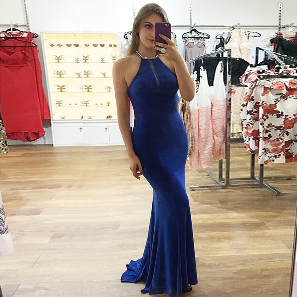 Bbonlinedress Spandex Mermaid   Prom     Dress   Royal Blue Party   Dress   with Beading Sequins Sexy Evening   Dresses   2019