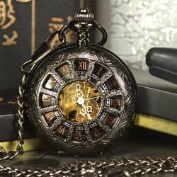 TIEDAN черный стимпанк Скелет Механические карманные часы для мужчин под старину Элитный бренд цепочки и ожерелья карманные и Fob часы