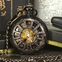TIEDAN Black Steampunk Skeleton Mechanical Pocket Watch Men Antique Luxury Brand Necklace Pocket Fob Watches Chain
