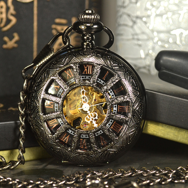 TIEDAN Black Steampunk Skeleton Mechanical Pocket Watch Men Antique Luxury Brand