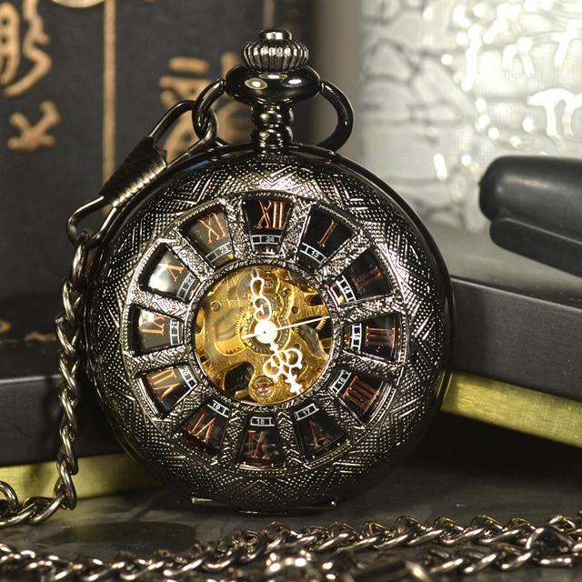 Tiedan השחור steampunk שלד מכאני שעון כיס שרשרת pocket & פוב שעונים מותג יוקרה גברים עתיקים שרשרת זכר שעון