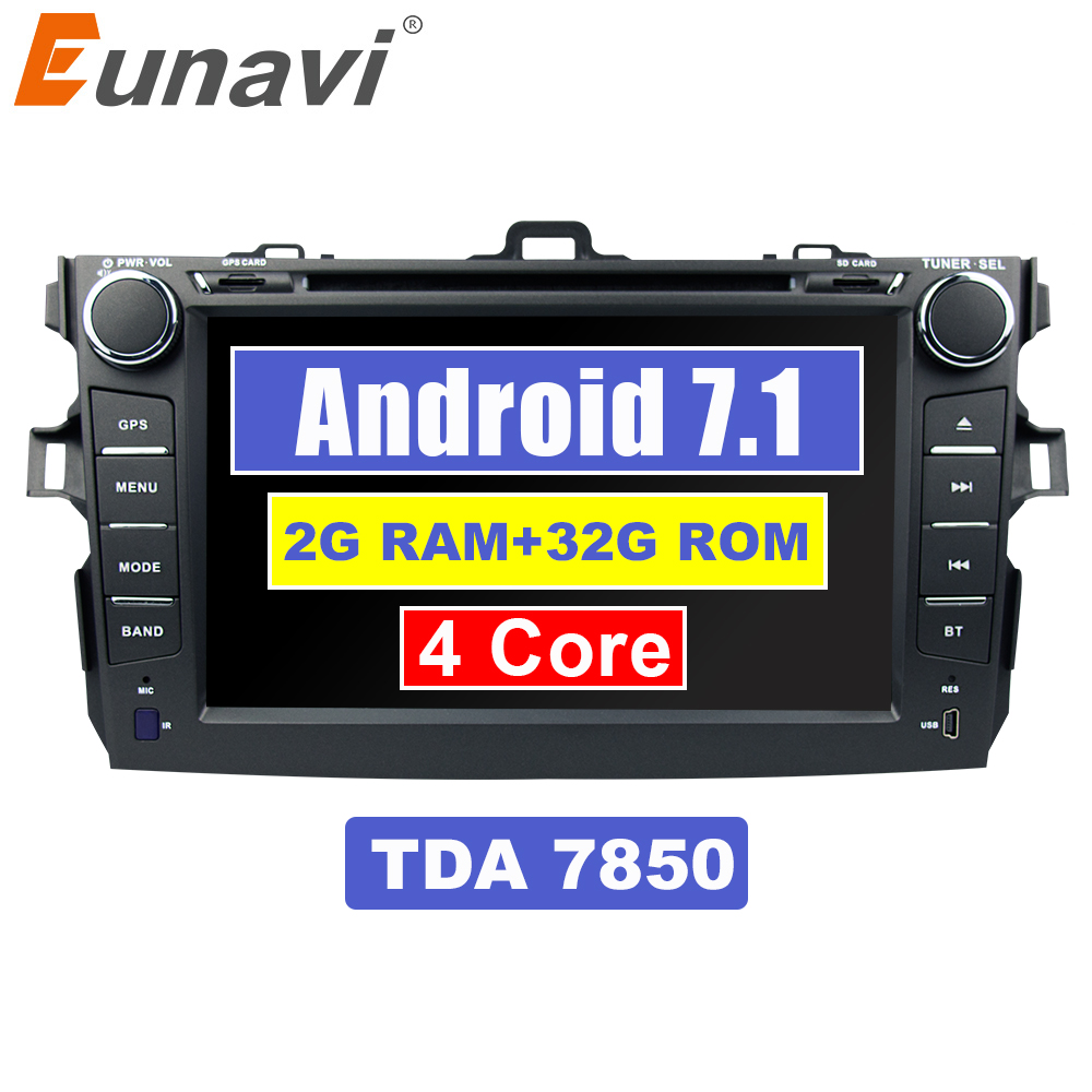Eunavi Quad Core TDA 7850 2Din 8'' Android 7.1 car dvd radio player stereo gps navi for Toyota Corolla 2007 2008 2009 2010 2011