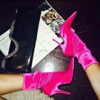 Элегантные розовые ботильоны с острым носком из эластичной ткани для подиума, кожаные модельные туфли на тонком каблуке с цветочным принто