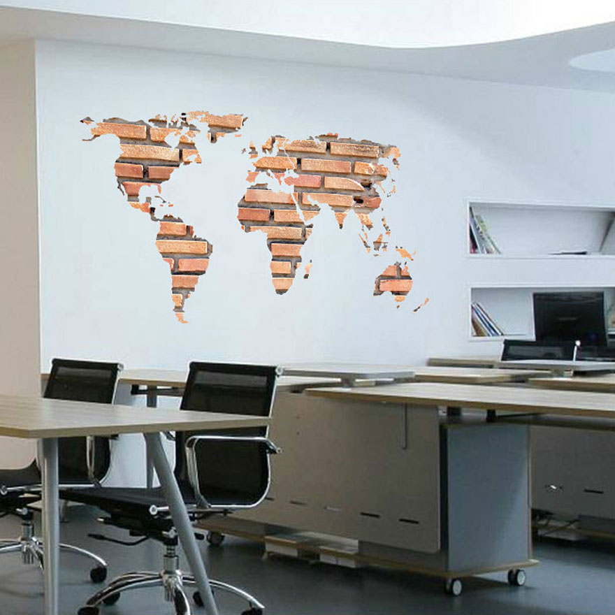 Stone brick world map wall sticker office art background pegatinas stone brick world map wall sticker office art background pegatinas de pared self adhesive autocollant home decor 3d decals in wall stickers from home gumiabroncs Gallery