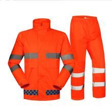 Spardwear водонепроницаемая высокая видимость куртку от дождя и Пант флуоресцентный Orange плащ со светоотражающими полосками Бесплатная доставка