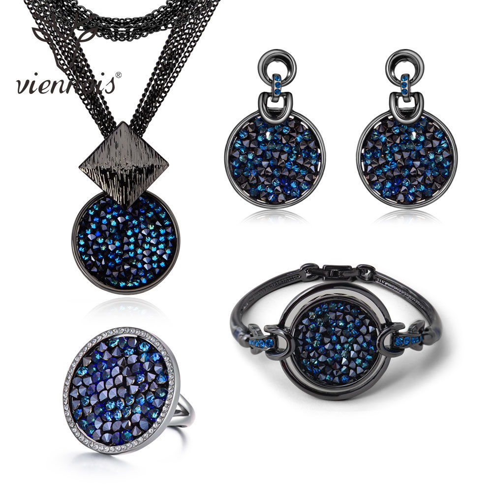 Viennois New Blue Crystal Fashion Rhinestone Pendant Earrings Ring Bracelet and Long Necklace Sets For Women Jewelry Sets attractive rhinestone embellished necklace and a pair of earrings for women