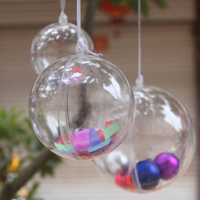 cc79fb93ac16c Plástico claro bolas de 6 CM   8 CM   10 CM transparentes decoraciones para  árboles de navidad apertura bola para boda de Bar en casa decorativa en ...