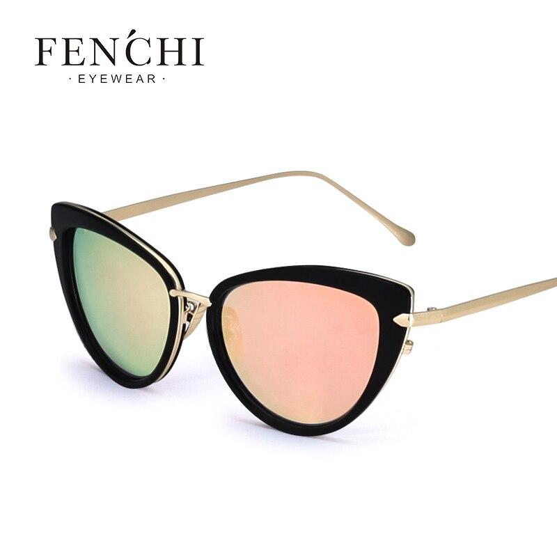 fenchi Cat Eye Women Sunglasses Female Metal Frame Brand Designer Alloy Legs Glasses oculos de sol With Original Box