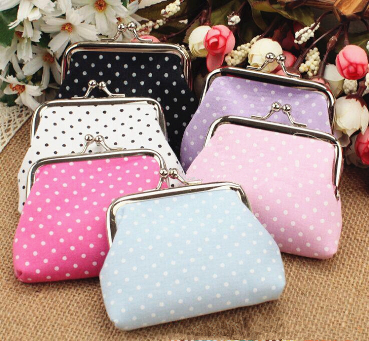 TEXU Coin purse women Lovely flower printing polka dots canvas coin wallet fabric metal button Coin Purses modella personal purse case pink polka dots 2 count