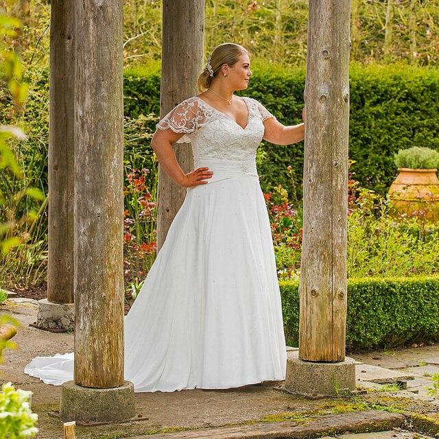 vestido de novia con cuentas de encaje drapeado mangas falda de gasa