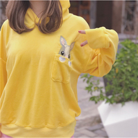 Autumn And Winter Girls Cute Embroidered Rabbit Ears Velour Hooded Loose Long Sleeves Pullovers Sweatshirt Women