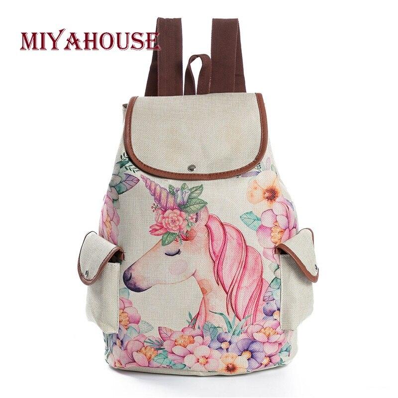 Miyahouse Floral Ocasional Cavalo Dos Desenhos Animados Impresso Linho Cordão Mochila Feminina Bolsa Escola Para Meninas Adolescentes Mochila de Viagem
