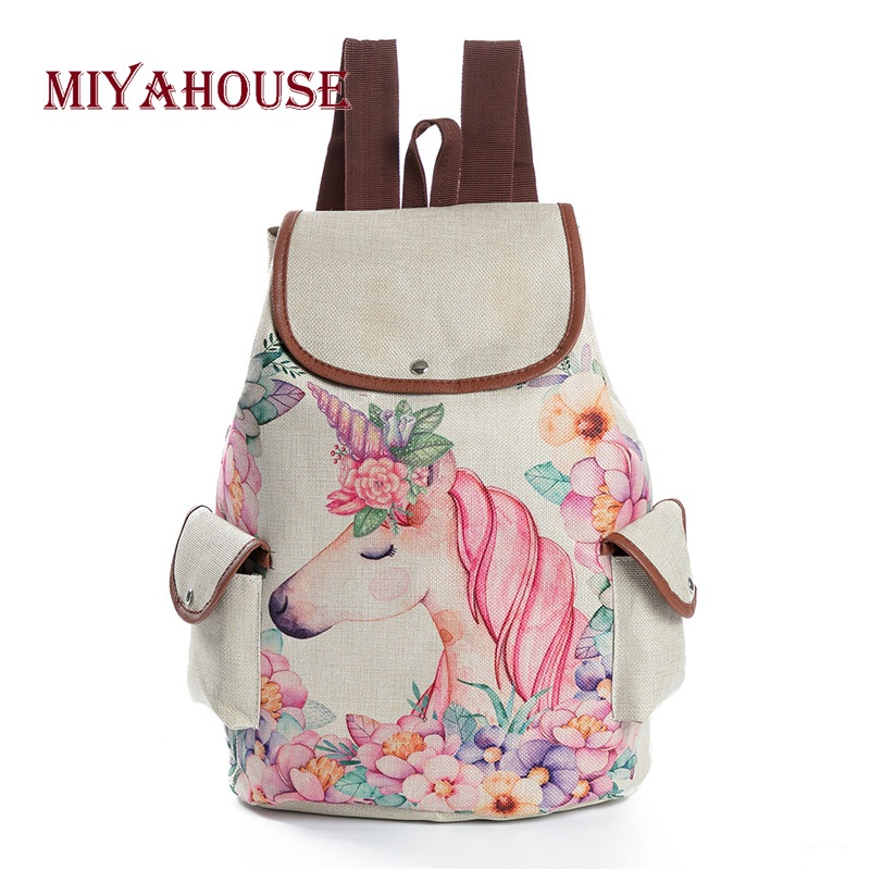 Miyahouse Pink Unicorn Printed Backpack Linen Drawstring School Bag For Teenager Girls Casual Floral Printed Rucksack For Ladies