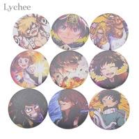 Lychee 9pcs/lot Hot Japan Anime My Hero Academia Badge Plastic Round Cartoon Brooch Pin Bag Decoration for Men Women