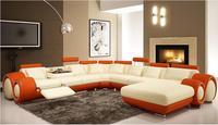 L Shape Cowhide Leather Top Grain Genuine Leather Corner Sofa Modern Fashion Creative Combination Large Size