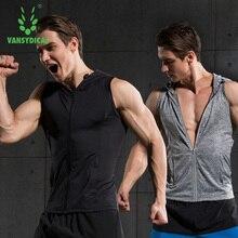 2017 Vansydical Hombres Gimnasio de Fitness Entrenamiento T-shirt tela de las medias masculinas chaqueta con capucha de baloncesto Jersey sin mangas chaleco de la aptitud de funcionamiento