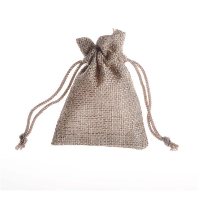 fb31de9a4 7x9 cm 10 piezas unids Lino liso Natural yute cordón bolsa saco boda Favor  regalo caramelo