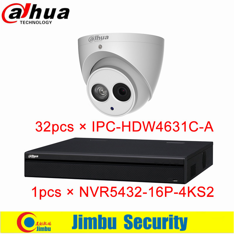 Dahua NVR KIT NVR5432-16P-4KS2 32CH H.265 1.5U 16PoE 4K&H.265 Network Video Recorder IPC-HDW4631C-A 6MP IP Dome Camera DVR KIT dahua nvr 4k nvr5416 16p 4ks2 nvr5432 16p 4ks2 psp poe video recorder 16poe ports 16ch 32ch h 265 h 264 people countiing ivs dvr