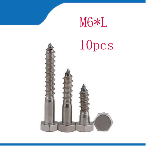 Free shipping 10pcs 304 Stainless Steel Self External Hexagon Hex Standard Tapping Wood Screws Bolts M6*30/40/50/60/70/75/80 304 stainless steel self external hexagon hex din571 standard tapping wood screws bolts m8 30 40 50 55 60 70 80 100 120