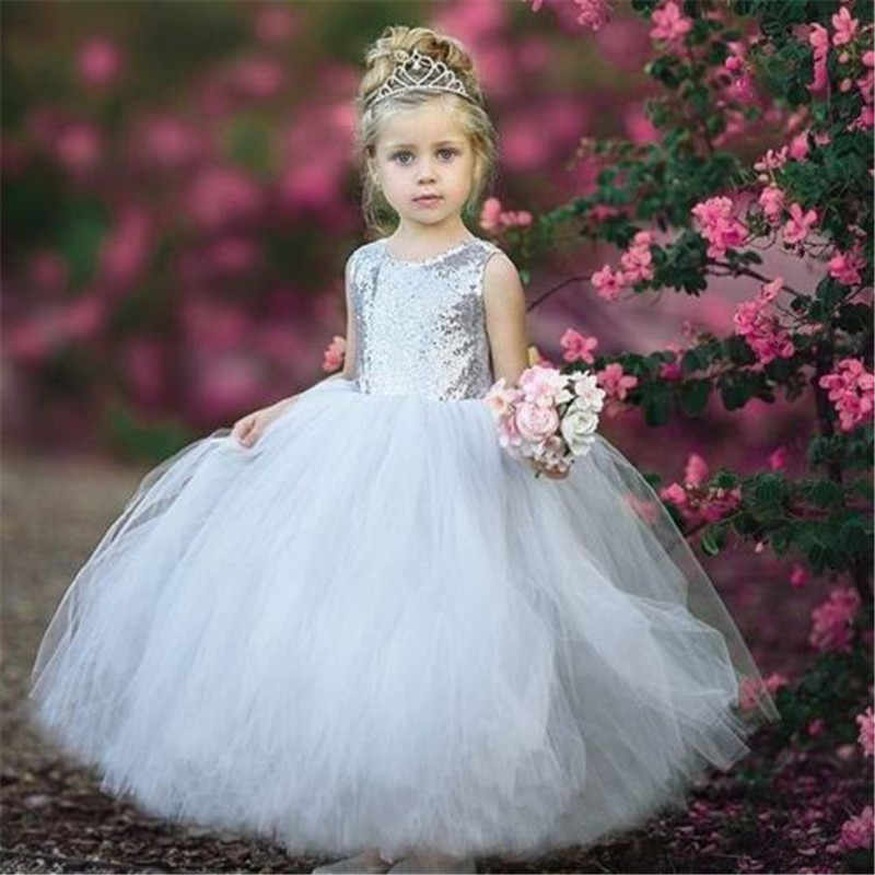 588c6fd95d ... Flower Sequins Girl Dress Princess Ball Gown Sleeveless Pageant Gold  Silver Sequins Birthday Party Wedding Bridesmaid ...