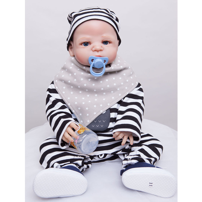 55cm Full Silicone Reborn Baby Boy Doll Toy 22inch Vinyl Newborn Babies Doll With Magnet Mouth Girl Bonecas Birthday Gift Presen 55cm full silicone reborn baby doll toy real touch newborn princess toddler babies alive bebe doll with pacifier girl bonecas