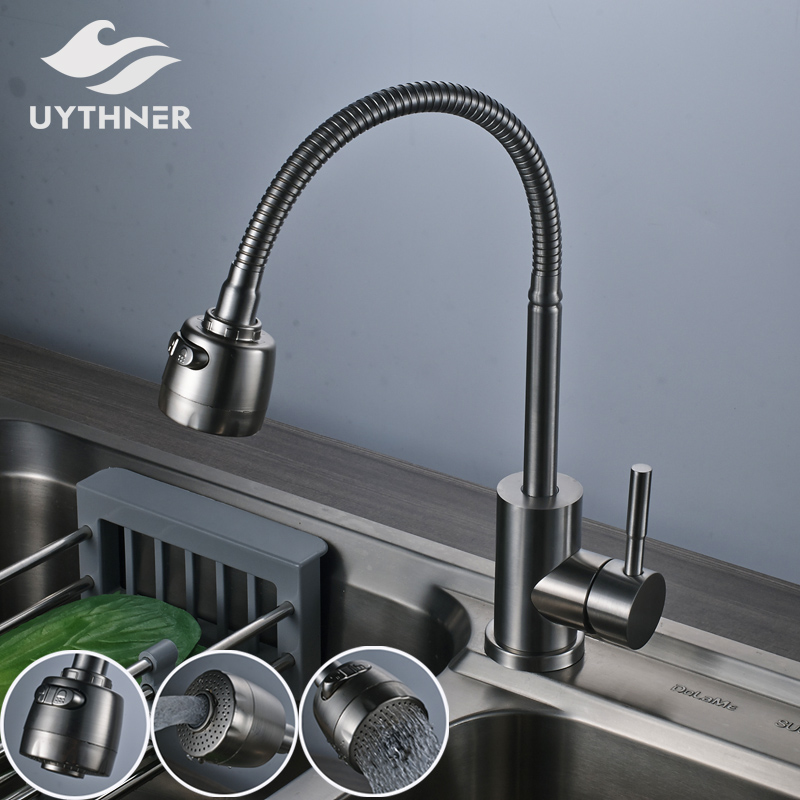 Kitchen Sink Outlet: Stainless Steel Kitchen Sink Faucet Single Handle 2 Ways