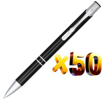 Lot 50pcs Oblique Top Dual Ring Metal Ball Pen,Black Anodized,Free Laser Engrave Customized Logo Display Promotional Gift
