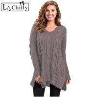 La קריר נשים וסוודרי בגדי חורף הגעה חדש בתוספת גודל XXL שחור שרוול ארוך לסרוג סוודרים רחב מימדים LC27681