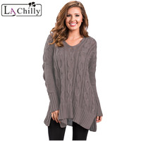 La Chilly New Arrival Winter Clothes Women Sweaters And Pullovers Plus Size XXL Black Long Sleeve Knit Oversized Sweater LC27681