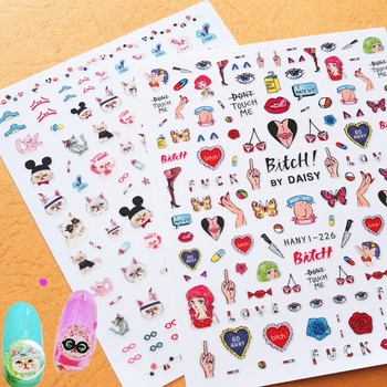 Newest HANYI-224 226 3d nail sticker Japan Harajuku style nail decals back glue decoration tools for nail art wraps newest haxx 49 50 51 3d nail art sticker back glue nail decal stamping japan type nail decoration tools