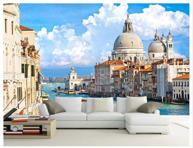 3d kamer behang custom muurschildering non woven water stad venetië