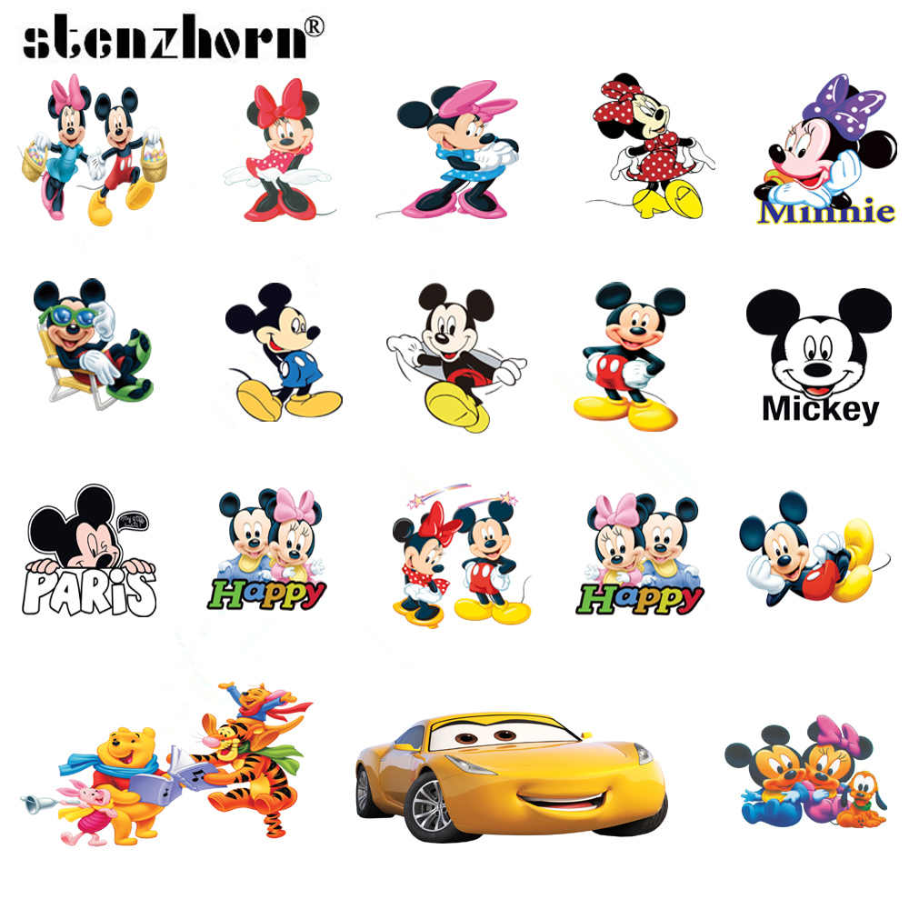 (1PC)Cartoon Mickey Minnie car bear Iron On Patches For Clothing Heat Transfers For Kids Child clothes Diy Ironing Stickers