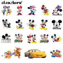 (1PC)Cartoon Mickey Minnie car bear Iron On Patches For Clothing Heat Transfers For Kids Child clothes Diy Ironing Stickers(China)