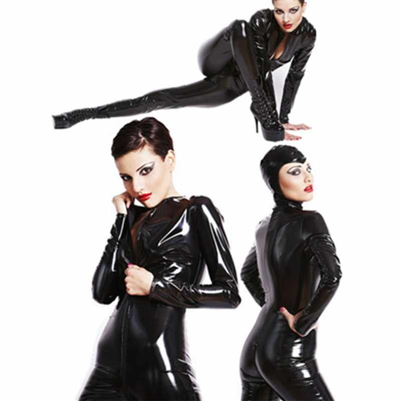 4df6689a7279 Free Shipping Adult Women Black PU Patent Leather Catsuit Sexy Catwoman  Costume Cat Mask Latex Bodysuit