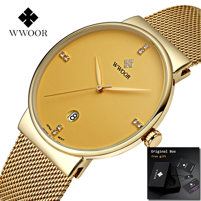2019 WWOOR Golden Mens Watch Top brand Luxury Stainless Steel Male Wristwatches