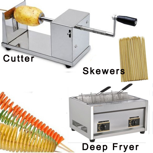 3 in 1 Manual Tornado Potato Cutter + LPG Gas Deep Fryer + Bamboo Skewers for Spiral Twister Potato  220v 12l electric deep fryer for spiral potato twister potato tornado potato fry potato churros chicken