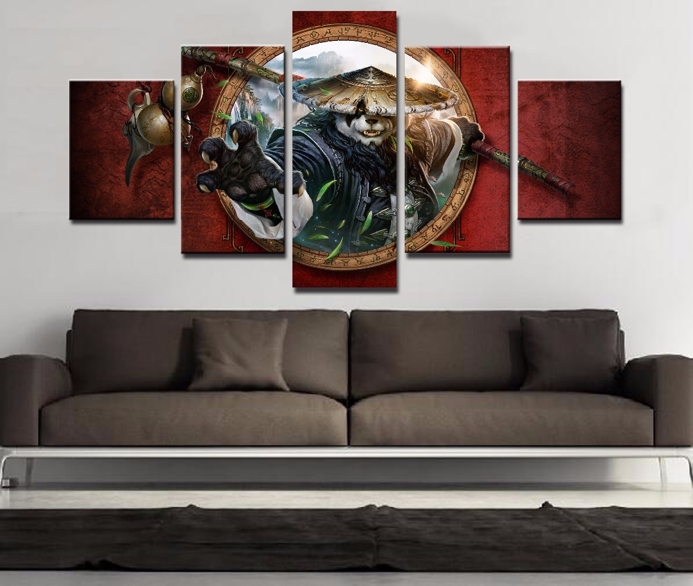 Frame 5 Piece Canvas Art Warcraft Painting For Home Decor Paintings on Canvas Wall Art for Home Decorations Wall Decor Artwork in Painting Calligraphy from Home Garden