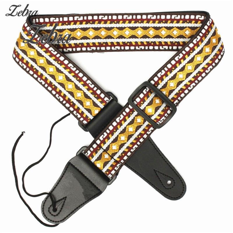 102cm-132cm Woven Retro Vintage Folk Style PU leather Adjustable Guitar Strap Belt for Acoustic Electric Bass Guitar amumu traditional weaving patterns cotton guitar strap for classical acoustic folk guitar guitar belt s113