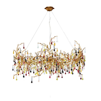 Phube Lighting Artistic Branches Crystal Chandeliers Light Water Drops Chandelier Light Colored GlazedCopper Chandelier