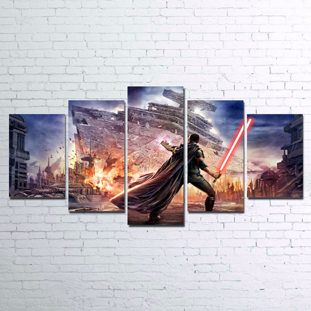 5 Pieces Star Wars The Force Unleashed Lightsaber Modern Home Wall Decor Canvas Picture HD Print Painting on Canvas Unframed