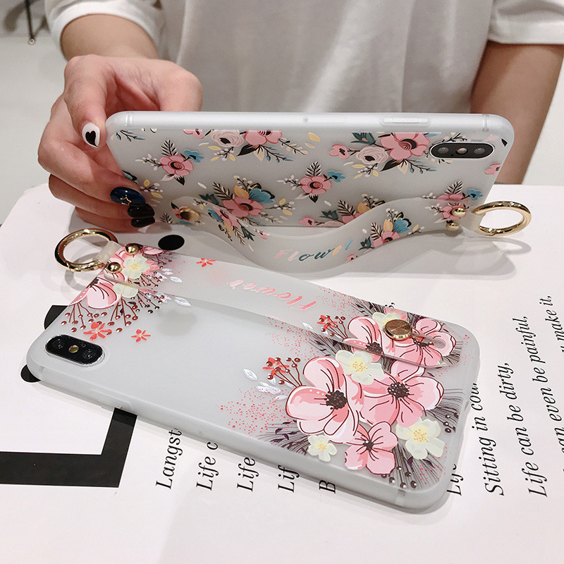 Image 2 - Flower Pattern Soft Silicone Wrist Strap Phone Holder Case For iphone X Xs max XR  6 6S plus  Case Cover Coque For iPhone 7 8-in Fitted Cases from Cellphones & Telecommunications
