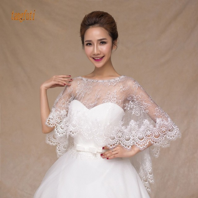Elegant Boat Neck Wedding Bolero Lace Liques Women Cape Beaded Shawl Vintage Bridal Wrap