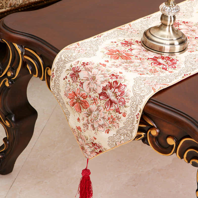 אירופאי סגנון שולחן רץ לוקסוס camino de mesa זהב משי רקמת בד רץ אוכל חדר שולחן דגל chemin de שולחן