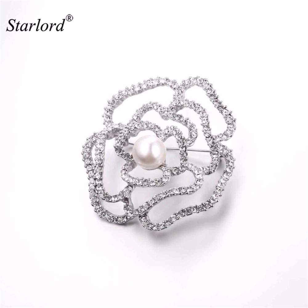 Starlord Flower Brooch Hollow Rose Design With Luxury