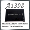 Original A1398 LCD Screen Display Assembly For Macbook Retina 15'' A1398 Mid 2012 Early 2013 Year MC975 ME664